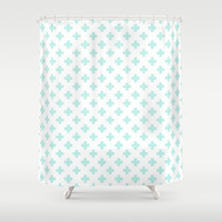 Cross Pattern Mint Shower Curtain by Pattern Plus | Society6