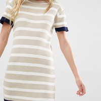 Daisy Street Knitted T-Shirt Dress In Stripe