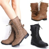 Womens Combat Military Boots Lace Up Buckle New Fashion Motorcycle Shoes Size