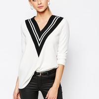 Boohoo Colour Block V-Neck Sweater