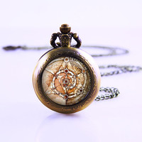 Dark Crystal Combination of Skekses triangles Necklace, Dark Crystal Watch Necklace,glass cabochon dome Pendant Watch Necklace