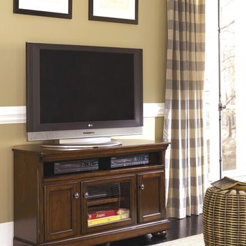 Ashley Furniture W697-28 Porter v collection casual style rustic brown finish wood tv stand