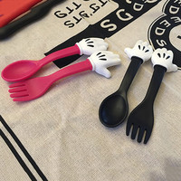 2pcs/set Cute Mickey Mouse hand Tableware Plastic PP Kids Dinnerware Sets