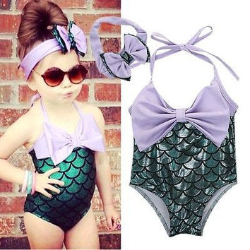 NEW Ariel 2-7Y 2PCS 2017 toddler Sequins Girls Little Mermaid Bow Bikini Set Swimmable Swimming Swimsuit Swim Clothing Kids