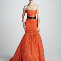 Monique Lhuillier Strapless Trumpet Gown & Smooth Leather Belt