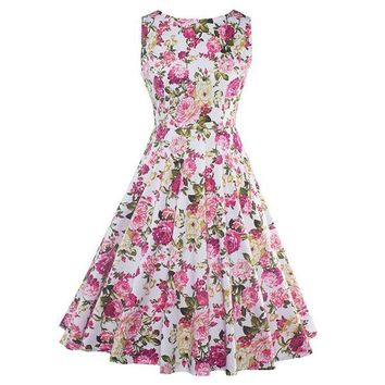 Sisjuly Women's Fashion Spring Summer Floral Print Elegant Vintage Party Dress