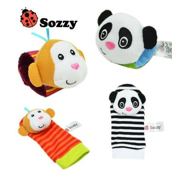 SOZZY 2pcs/set Wrist Rattle 15*3.5cm animal Foot Socks 14*6.5cm colorful Infant Baby Toy Plush Newborn appease Gifts suffed doll