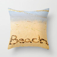Beach Throw Pillow by Renee Trudell