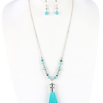 Aged Finish  Cross Tassel Natural Stone Bead lic Bead Two Tone Necklace Earring Set