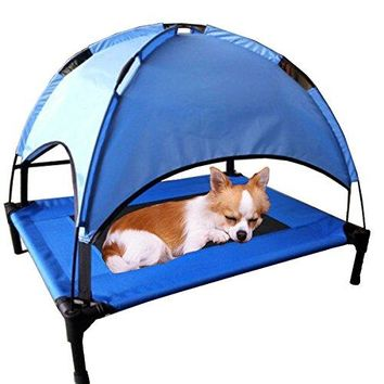 JANMO Pet Portable Bed Dog Foldable Indoor and Outdoor Cot Tent Canopy Shelter (M 30 inch, Blue)