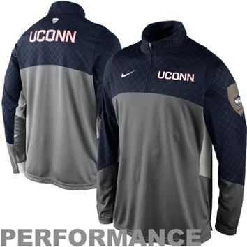 Nike UConn Huskies Shootaround Quarter-Zip Long Sleeve Performance T-Shirt - Gray/Navy Blue