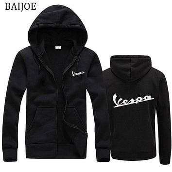 Free shipping 2018 Spring New Hoodies men/women Vespa print Hoodies Sweatshirts Motorcycle Casual Winter Hooded Jackets