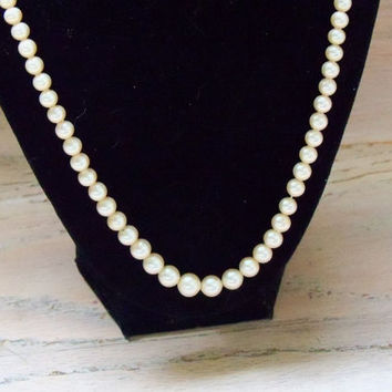 Vintage Necklace Marvella Faux Pearls Off White Bride Wedding Jewely Bridal Party Special Occasion Gift Idea