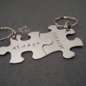 Gift for couples, Always Forever Puzzle Piece Keychain for Couples, Gift for her