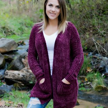 Keep Me Warm Cardigan-Wine