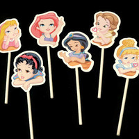 baby Disney princesses cupcake toppers, 12 kids birthday party decorations, shower decor