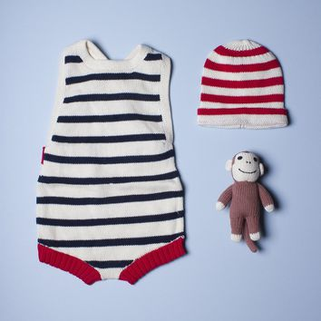 Organic Baby Gift Set With Sleeveless Striped Navy Romper, Hat and Handmade Rattle Toy