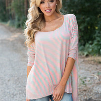 Striped Over Sized Dolman Top Pink/Mint