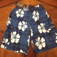 NWT Mens Swim Trunks Swim Shorts Navy Blue Hibiscus Floral Swimsuit OCEAN BLUE