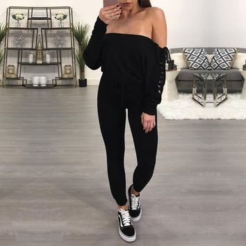 Women Casual Fashion Solid Color Off Shoulder Bandage Long Sleeve Romper Jumpsuit Trousers
