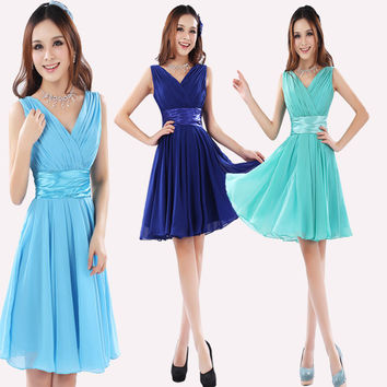 2017 new short costumes bride toast clothing chiffon Cocktail dress graduation dress Champagne Homecoming dress DIY