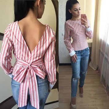 Scoop Striped Long Sleeves Straps Open Back Regular T-shirt