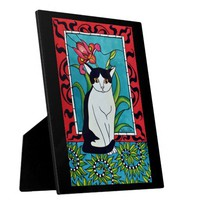 Sweet Tuxedo Cat with Orchid Flower Plaque