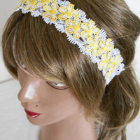 Hair band, lace headband, bandana, headband, daisy, women, women's accessories, scarves, summer accessories, beach wear, white flowers