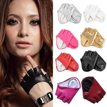 1 pair Fashion Half Finger PU Leather Gloves Ladys Fingerless Driving Show Dance Accessories guantes mujer