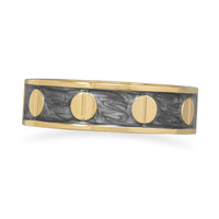 Pearlescent Grey Enamel Fashion Bangle Bracelet with Gold Tone Screw Accents