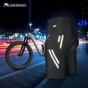 Santic Summer Men Cycling Shorts ciclismo Padded Black Reflector Pro Fit Shockproof Bike Clothing Anti-sweat Quick Dry KS007