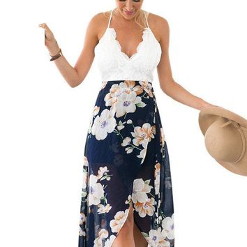 CREYONV Floral Print Chiffon Patchwork Lace V Neck Open Back High Low Beach Casual Long Maxi Dresses