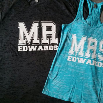 2 Sided Custom Couples Mr and Mrs Burnout TShirt Set, Mr and Mrs Couples Tshirt, Personalized Mr and Mrs Couples Tops, Couples Gym Shirts