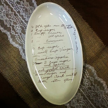mothers day gift - Custom plate with your grandmothers handwritten recipe