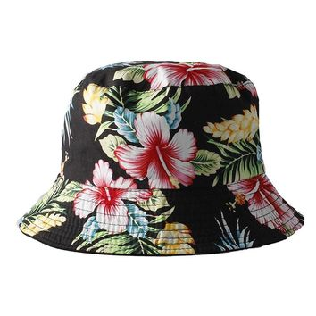 Women's Black Reversible Bucket Hat with Multi Colour Floral Print