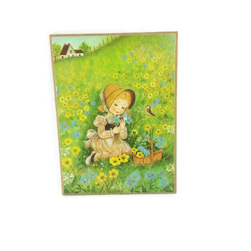 Vintage Eva Harta Wall Hanging Plaque Girl in Field Flowers with Bird
