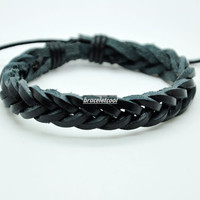 Real Black Leather Woven Women's Leather Bracelet, Men's Leather Bracelet 1607A