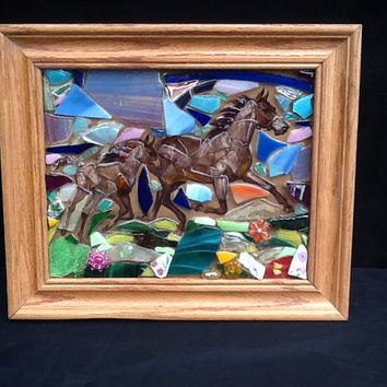 Horse Wall Decor Picture OOAK , Mixed Media Art