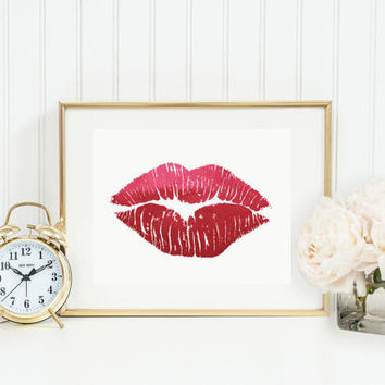 Red Foil Lips, Poster, Real Foil, Foil Print, Lips Print, Glam Wall Art, Fashion Art, Wardrobe Art, Glamour, Makeup Print, Wall Art.