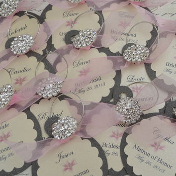 Wedding Wine Charm Favors Customized Personalized Anniversary Rehearsal Dinner Bridal Shower Bachelorette Party Baby Shower