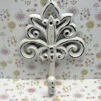 Fleur de lis Cast Iron Light White Wall Hook Ornate French FDL Scroll Paris Shabby Style Chic Leash Jewelry Hat Ornate Bathroom Kitchen Hook