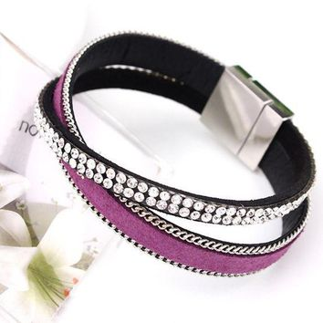 ONETOW 2017 Hot Sparkling Full Rhinestone Belt Buckle Wide Magnetic Leather bracelets & bangles Women  Pulsera Mujer Bijoux