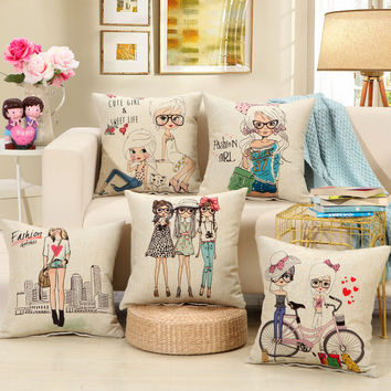 "2016 Hot Sell New Home Decorative home Cushion Throw Pillowcase 18"" Vintage Cotton Linen Square Pillow AU82"