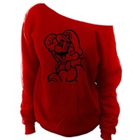 Mario Bros. Off-The-Shoulder Oversized Slouchy Sweatshirt