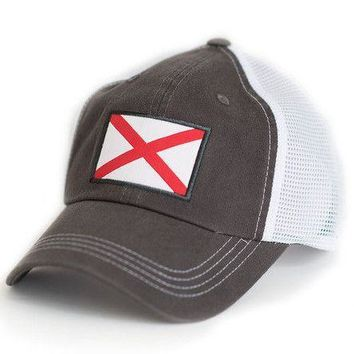 Alabama Flag Trucker Hat in Grey by State Traditions