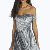 Tall Nala Crushed Velvet Off The Shoulder Dress