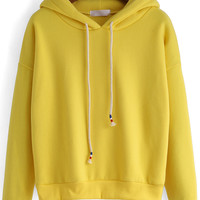 Yellow Hooded Drawstring Loose Sweatshirt