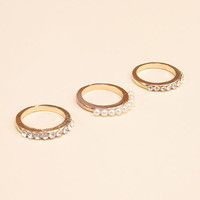 Pearl & Crystal Midi Ring Set (3 Piece)