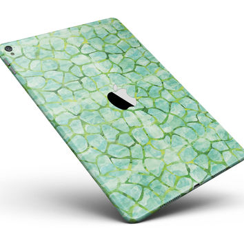 """Green Watercolor Giraffe Pattern Full Body Skin for the iPad Pro (12.9"""" or 9.7"""" available)"""