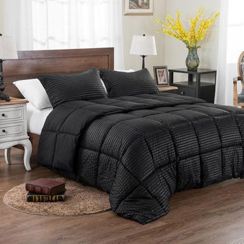 3pc Reversible Solid/ Emboss Striped Comforter Set- Black